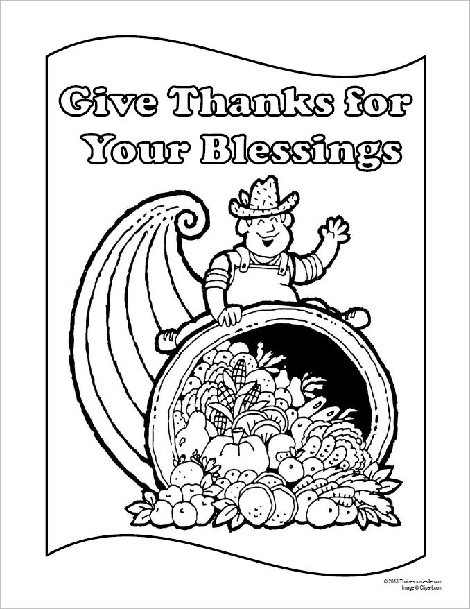 Give Thanks For Your Blessings Coloring Sheet
