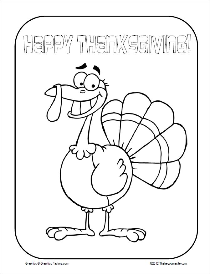 Happy Turkey Thanksgiving Coloring Sheet
