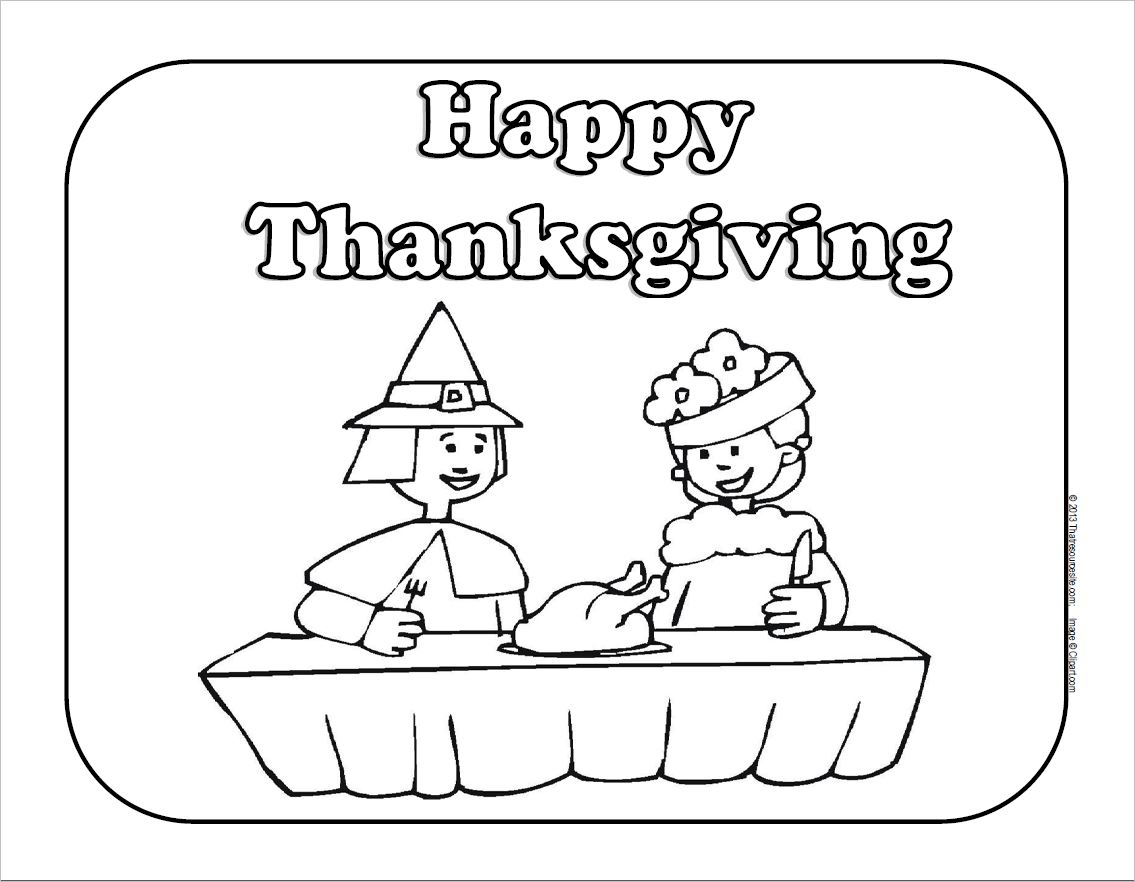 Share a Thanksgiving Meal Coloring Sheet