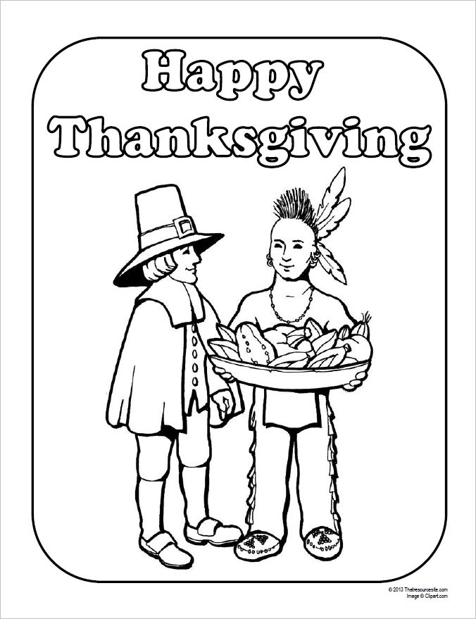 Traditional First Thanksgiving Coloring Sheet