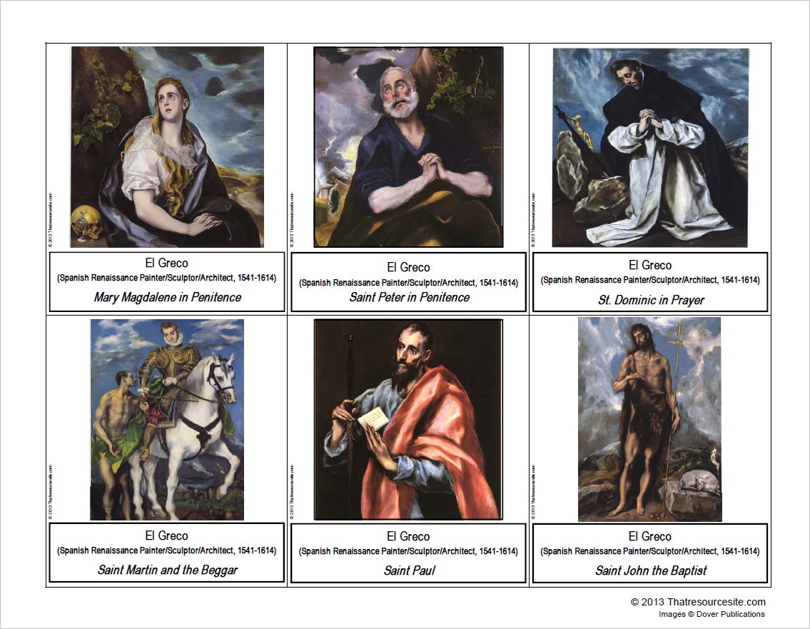 El Greco Montessori Art Cards