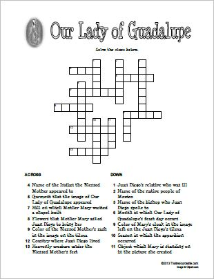 Our Lady of Guadalupe Crossword Puzzle