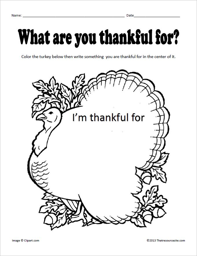 What Are You Thankful For Worksheet