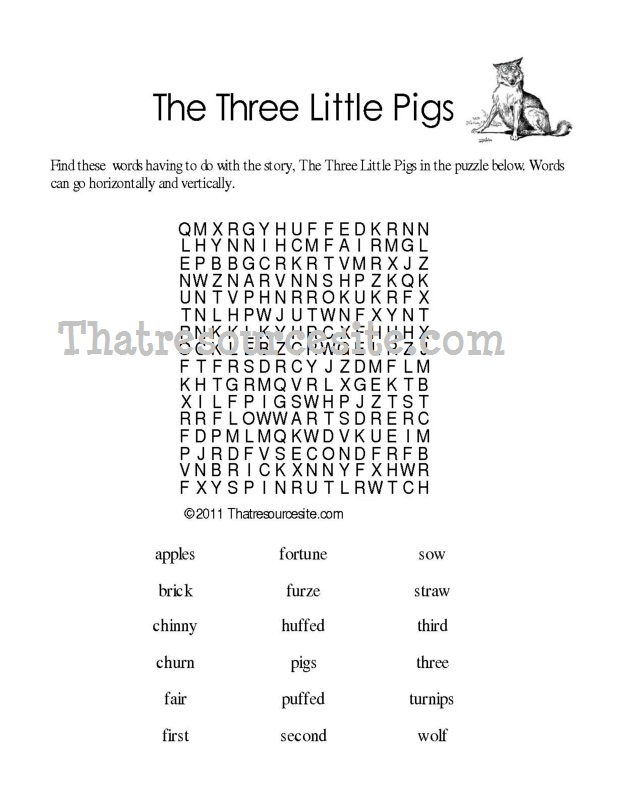 Three Little Pigs Word Search Puzzle