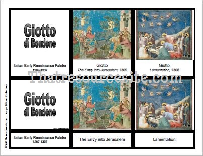 3-Part Montessori Cards for Artist Giotto