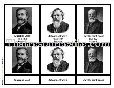 3-Part Montessori Cards for Composers Set 2