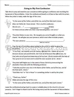 Going to My First Confession Worksheet Set (Version 2)