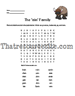 AIN Word Family Word Search Featuring the Buffalo