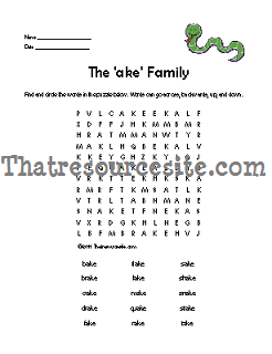 AKE Word Family Word Search Featuring the Snake