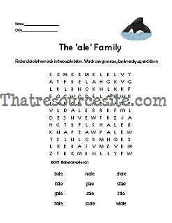ALE Word Family Word Search Featuring the Killer Whale