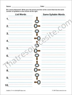 Spelling Detective for Same Syllable Words Worksheet