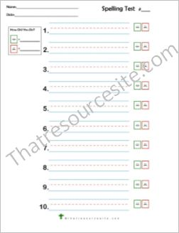 Spelling Test Sheets Set