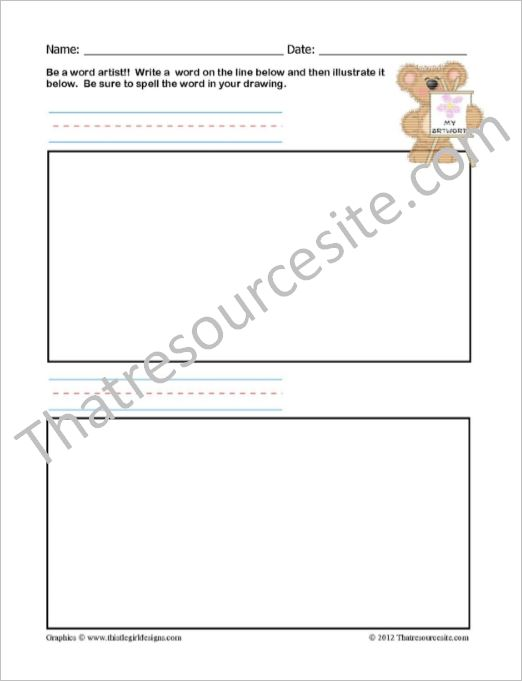 Spelling Word Artist Bear Worksheet Set