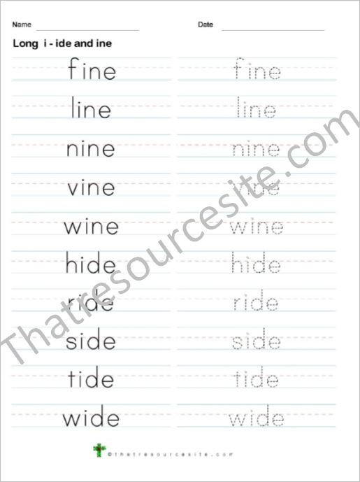 Ten Words Long Vowel I Traceable Word List