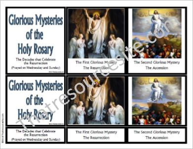 Glorious Mysteries of the Rosary 3-Part Montessori Cards