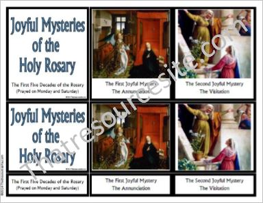 Joyful Mysteries of the Rosary 3-Part Montessori Cards