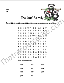 EAR Word Family Word Search Featuring Panda Bears