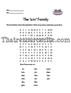 AM Word Family Word Search Featuring the Clam