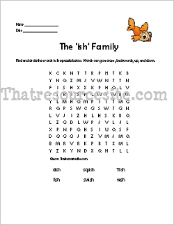 ISH Word Family Word Search Featuring the Goldfish