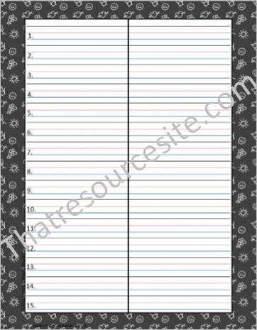 Chalkboard Theme Word Writing Sheet