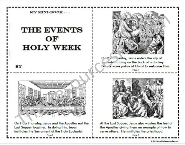 photo relating to Holy Week Activities Printable titled Activities of Holy 7 days Mini-Reserve Mounted - That Tool Web-site