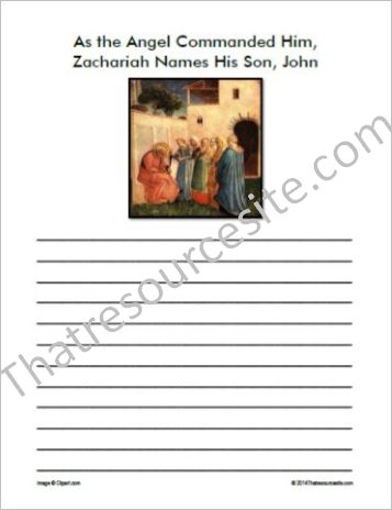 Life of Christ – Zachariah Names John Notebooking Set