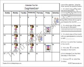 Calendar Fun Worksheets