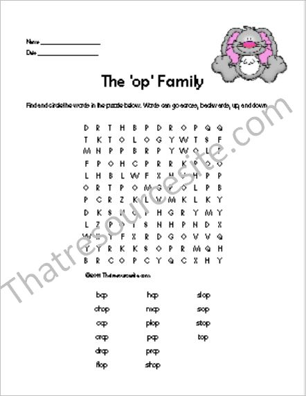 OP Word Family Word Search Featuring the Rabbit