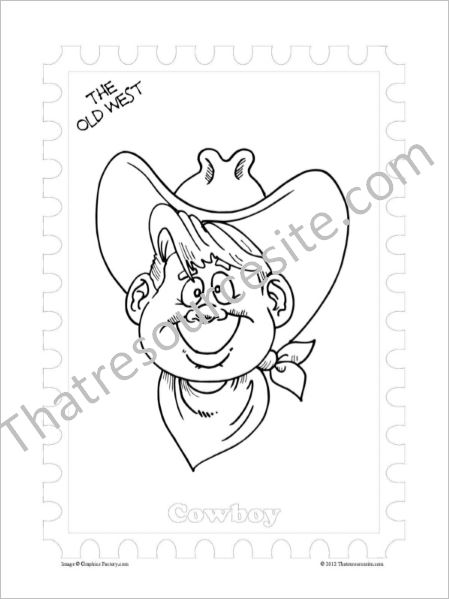 Old West Coloring Sheet Featuring a Cowboy