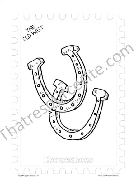 Old West Coloring Sheet Featuring Horseshoes