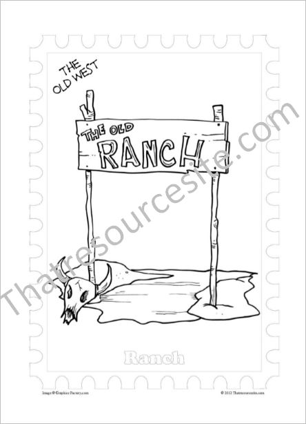 Old West Coloring Sheet Featuring a Ranch Sign