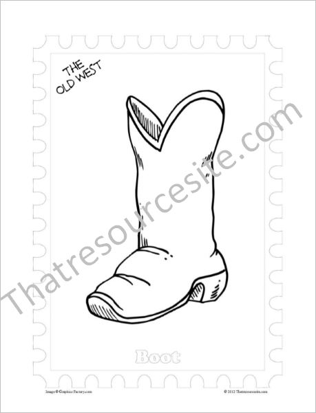 Old West Coloring Sheet Featuring a Cowboy Boot