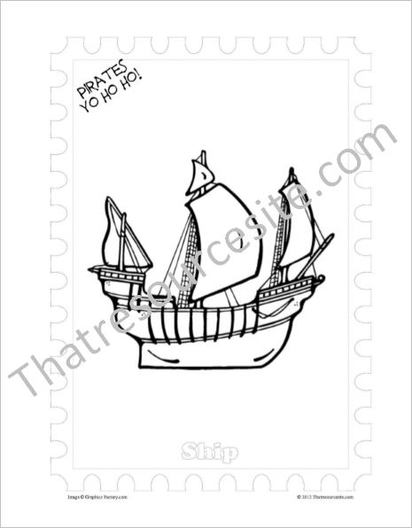 Pirate Explorer Ship Coloring Sheet