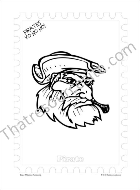 Pirate Face Coloring Sheet 2