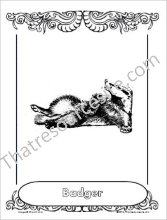 Badger Animal Coloring Sheet