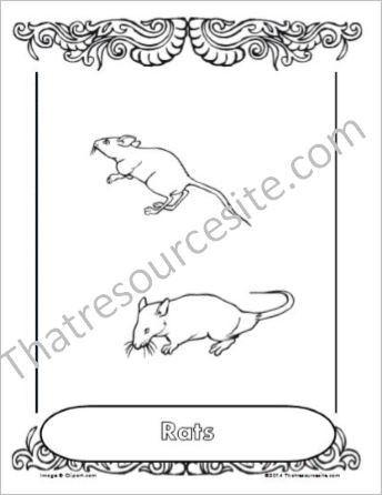 Rats Animal Coloring Sheet
