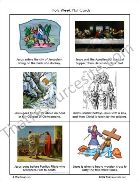Events of Holy Week Plot Cards