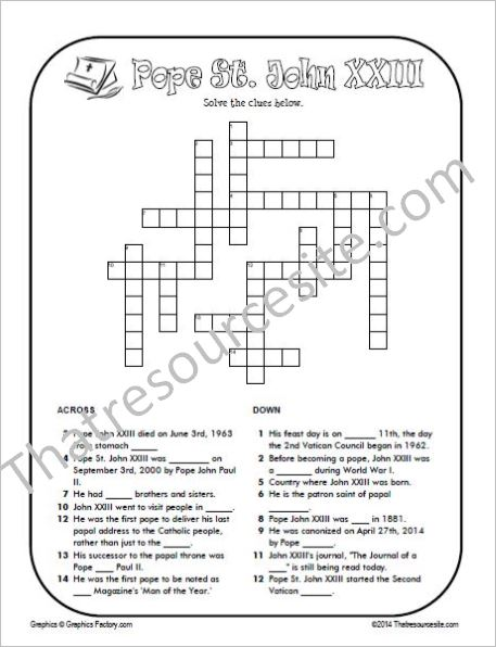 Pope St. John XXIII Crossword Puzzle