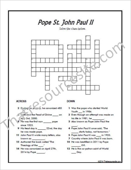 Pope St. John Paul II Crossword Puzzle