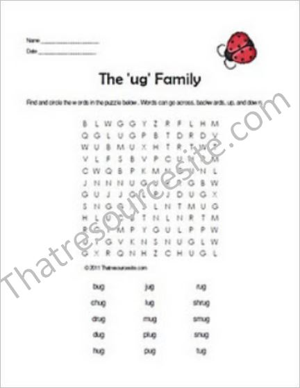 UG Word Family Word Search Featuring the Ladybug