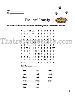 EST Word Family Word Search Featuring the Housefly