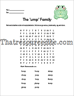 UMP Word Family Word Search Featuring the Frog