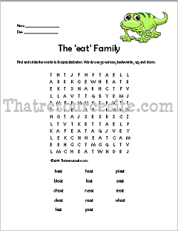 EAT Word Family Word Search Featuring the Lizard