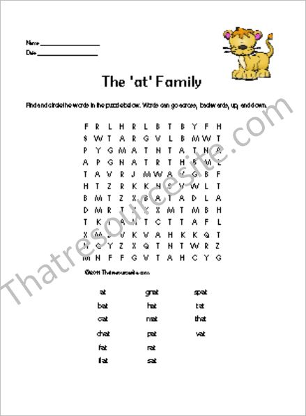 AT Word Family Word Search Featuring the Lion Cat