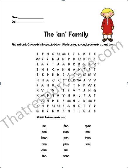 AN Word Family Word Search Featuring Man