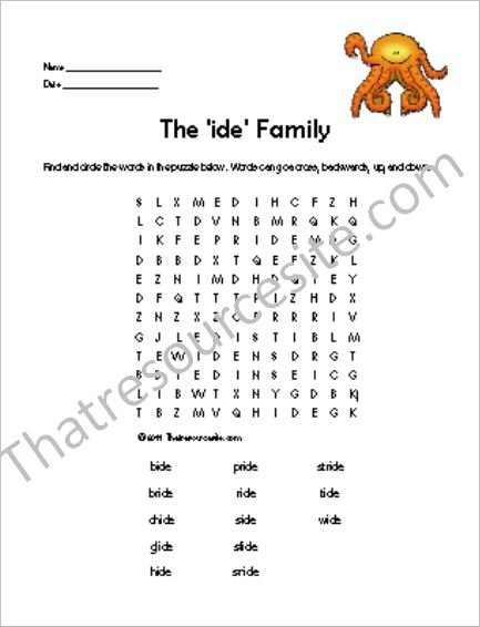 IDE Word Family Word Search Featuring the Octopus