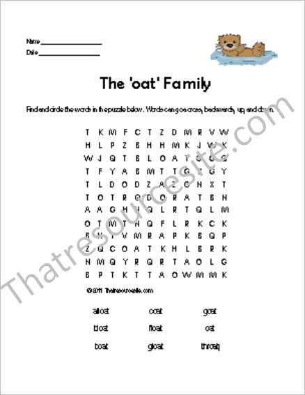 OAT Word Family Word Search Featuring the Otter
