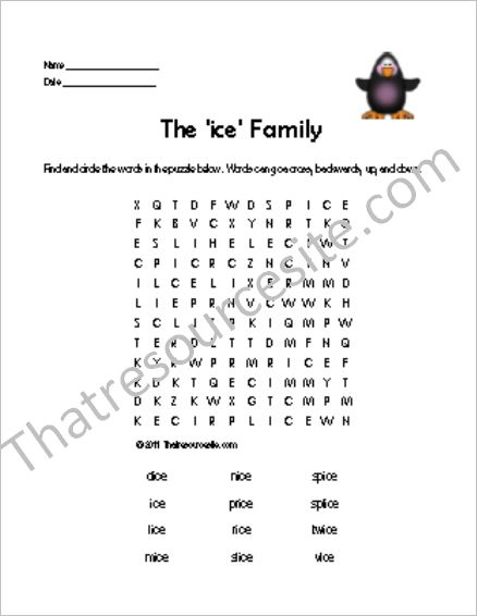 ICE Word Family Word Search Featuring the Penguin