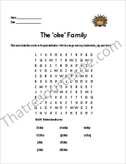 OKE Word Family Word Search Featuring the Porcupine
