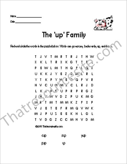 UP Word Family Word Search Featuring a Dalmatian Pup
